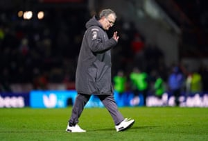 Marcelo Bielsa waves to the travelling support after the final whistle.