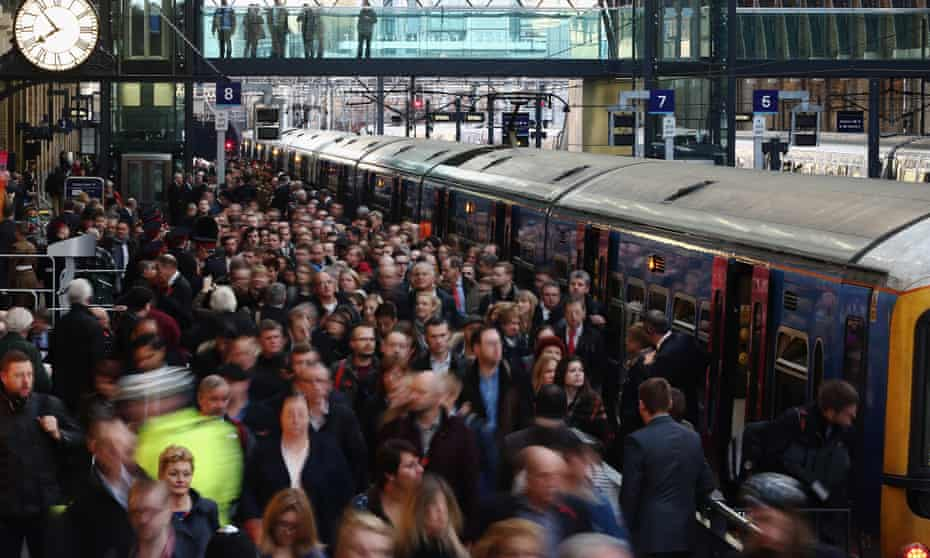 Rush hour at King's Cross train station.