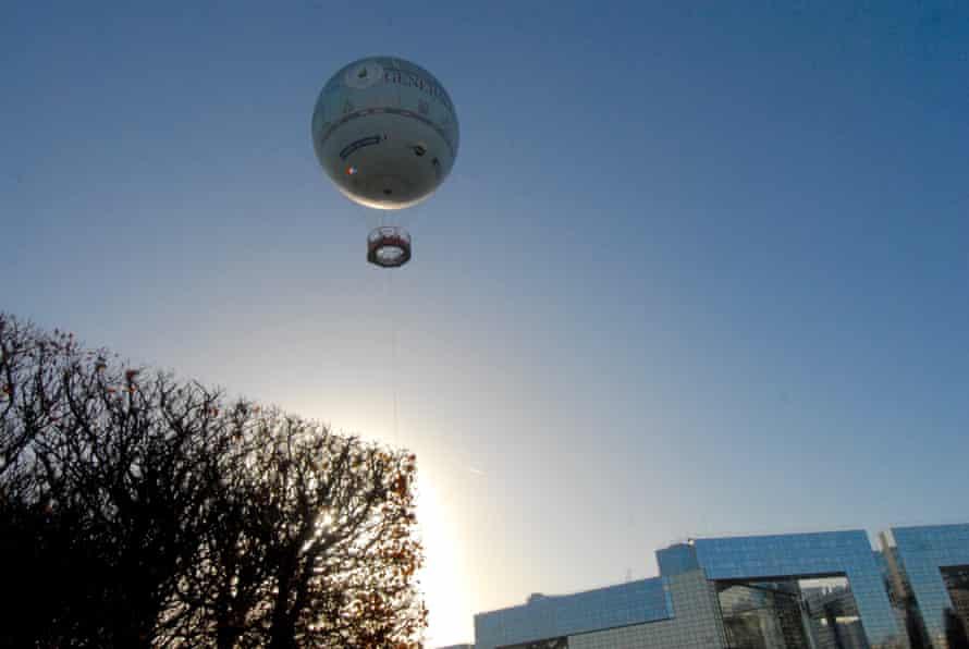 Hot air balloon over Paris