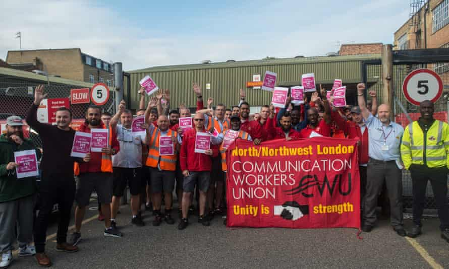 Postal workers at a north London sorting office before a strike ballot in which more than 97% of Communication Workers Union members voted for industrial action, 10 September 2019.