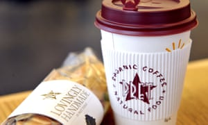 Coffee cups and a sandwich in a Pret A Manger store in Melcombe Street in central London.