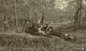 """WALT WHITMAN AND PARTY by Alexander Gardner c. 1863 Image: 17.1 Å~ 22.9cm (6 3/4 Å~ 9"""") Mat: 22.9 Å~ 27.9cm (9 Å~ 11"""") Provided by lender Western Reserve Historical Society, Cleveland, Ohio EXH.AG.28 Dark Fields of the Republic: Alexander Gardner Photographs 1859-1872 Sept. 18, 2015-March 13, 2016 press image"""