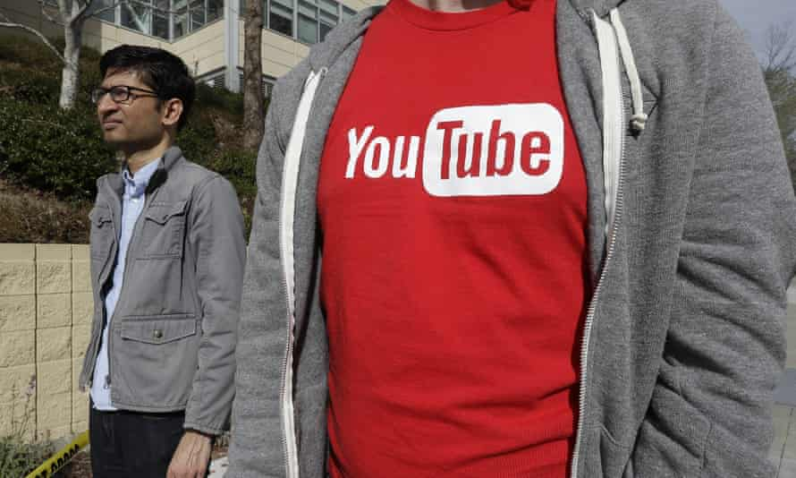 YouTube staff outside their offices in the wake of Tuesday's shooting. Content creators have long complained about the company's lack of transparency.