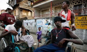 Boys and men in wheelchairs in Freetown