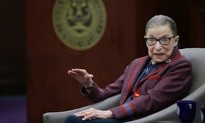 Ruth Bader Ginsburg answers a law student's question in January.