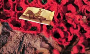 A picture left by Australians on top of poppies is seen at Hamza koy beach in Gallipoli.
