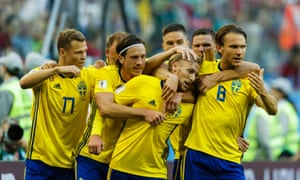 Emil Forsberg celebrates after scoring the only goal of the game.