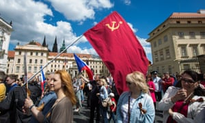 Pro-Russian protesters celebrate Liberation Day, the anniversary of the defeat of Nazi occupiers, in Prague, May 2016