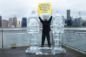 Activists from Greenpeace USA placed life-size sculptures of Donald Trump and Jair Bolsonaro on a pier facing the UN building, where the meeting was originally meant to take place
