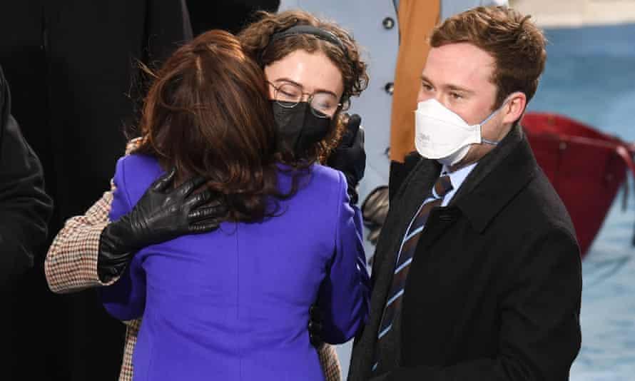 Kamala Harris with Ella and Cole Emhoff at the inauguration.