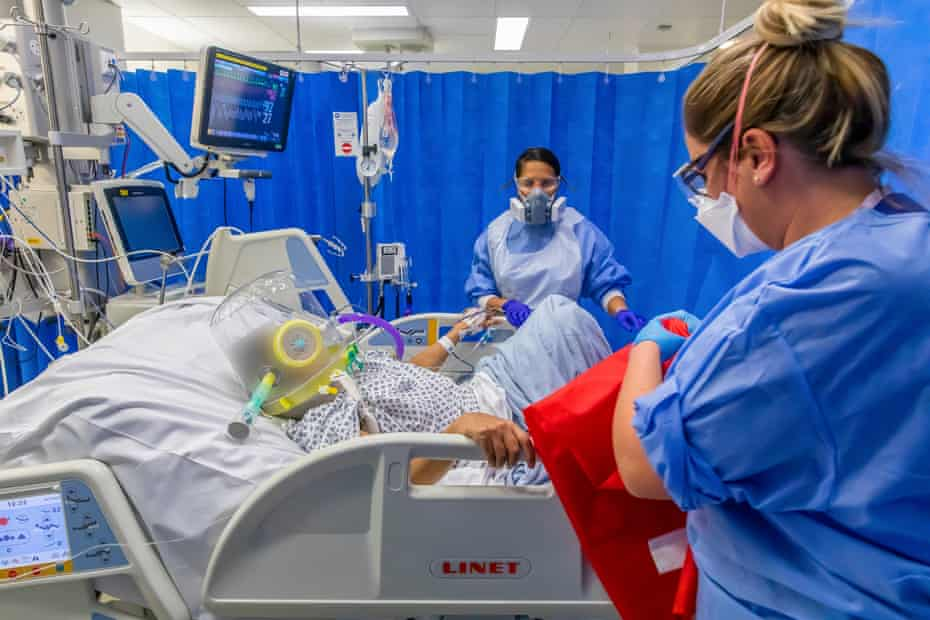 A patient receiving oxygen via a Cpap machine in the intensive care ward.