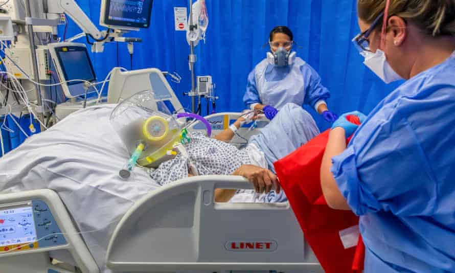 A patient in intensive care during the coronavirus pandemic in University Hospital in Coventry, taken during mid December 2020.