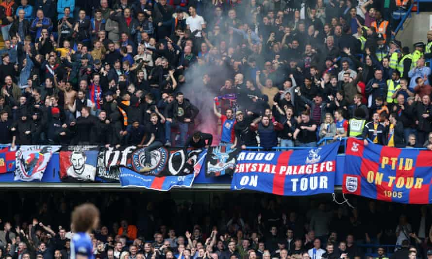 Palace fans celebrate after Benteke's goal.