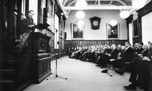 George Steiner lecturing at Oxford in 1994.