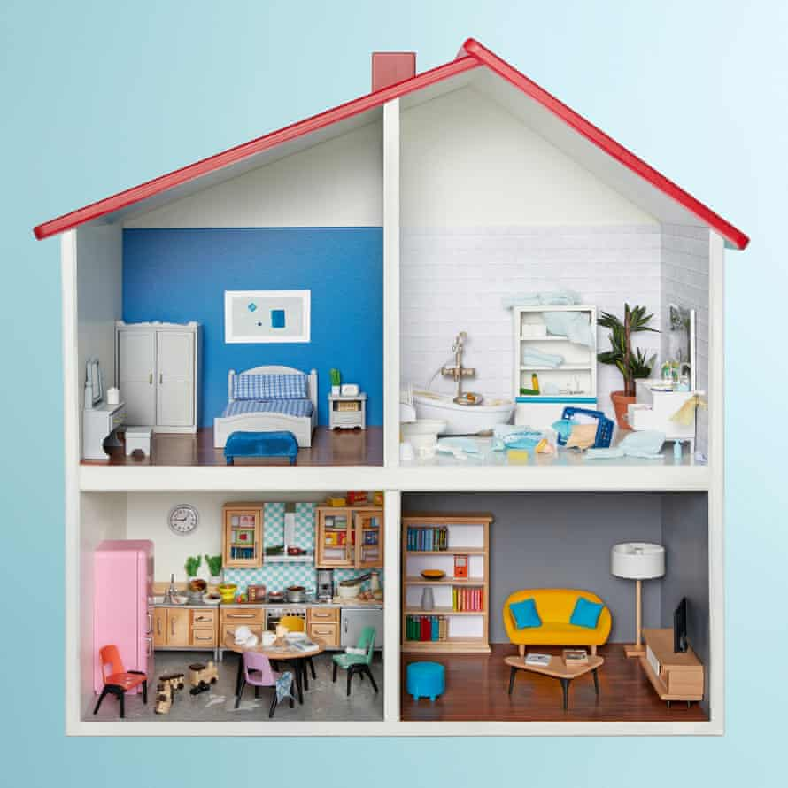 Model house with messy rooms and tidy rooms