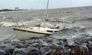 An abandoned boat takes on water near Biloxi, Mississippi.