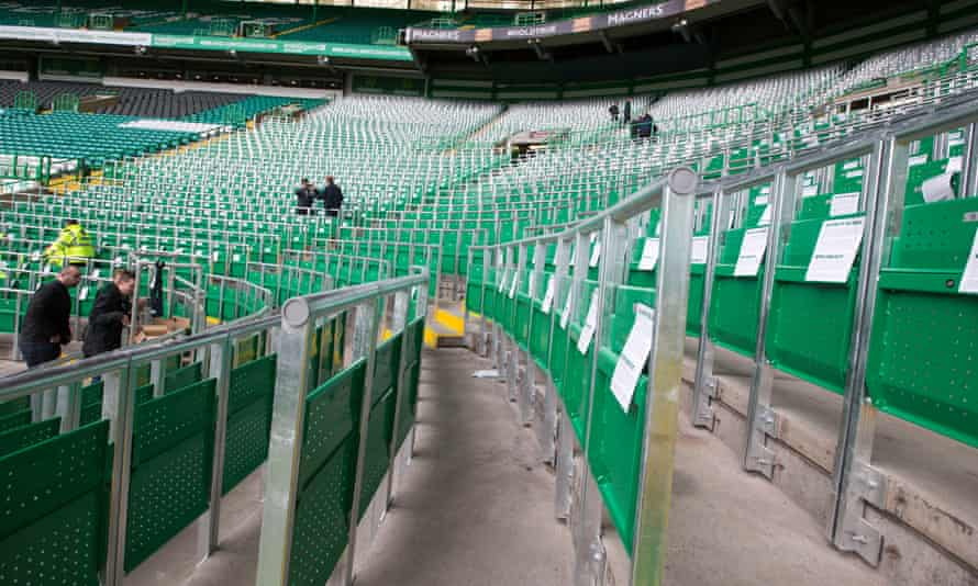 The rail seating introduced as a pilot at Celtic Park last season. The safe standing area will be a permanent addition in the coming season.