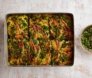 Yotam Ottolenghi's kale pesto strata with gruyère and mustard.