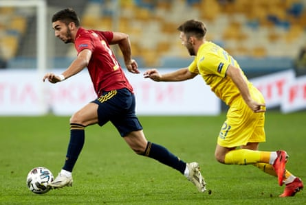 Ferran Torres surges forward during Spain's Nations League group game against Ukraine this month.