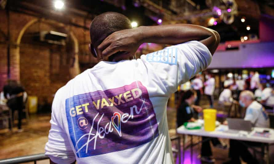 An NHS worker at a Covid vaccination centre hosted at the Heaven nightclub in London earlier this month