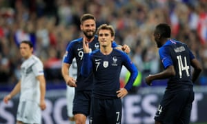 Antoine Griezmann celebrates a second goal – his double overturned Toni Kroos's opener to leave Germany bottom of their Nations League group.