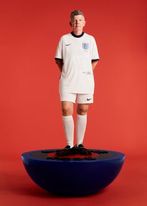 Back of the netIn collaboration with Nike, Martine Rose has reimagined the England football jersey into a double crested, reversible and genderless supporter's shirt. It's dedicated to the Lost Lionesses, the team that played at the unofficial women's World Cup in Mexico in 1971. Some of the original players, including Chris Lockwood (above) feature in the campaign images. Shirt, £134.95, Inside-out cap, £37.95, martine-rose.com