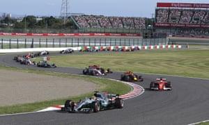 Mercedes driver Lewis Hamilton leads
