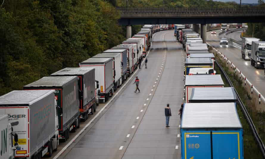 Lorries on the M20 taking part of the Operation Stack traffic control plan on 24 September near Ashford, Kent.