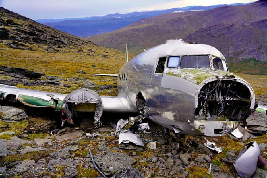 One of four USAF planes that crashed during the search – this one near Aishihik near Haines Junction.