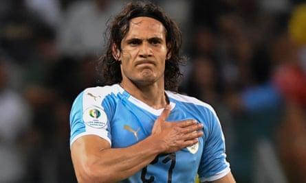 Edinson Cavani celebrating a goal for Uruguay against Ecuador