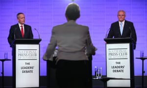Scott Morrison and Bill Shorten during the third and final election debate at the National Press Club in Canberra