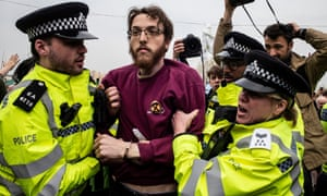 A protester being arrested