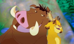Pumbaa, Timon and Simba in a scene from Disney's 1994 animation of the Lion King