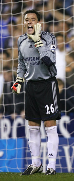 Chelsea's defenders would be used to hearing John Terry shout at them but not when he's wearing a goalkeeper's jersey. The Blues' captain went in goal for the end of Chelsea's match at Reading in October 2006. He ended up there after Chelsea's reserve keeper Carlo Cudicini was given medical treatment on the pitch after suffering a heavy collision towards the end of the match - having replaced keeper Petr Cech in the first minute of the match.