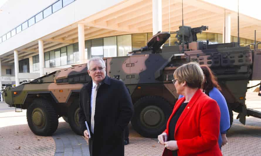 Scott Morrison and defence minister Linda Reynolds