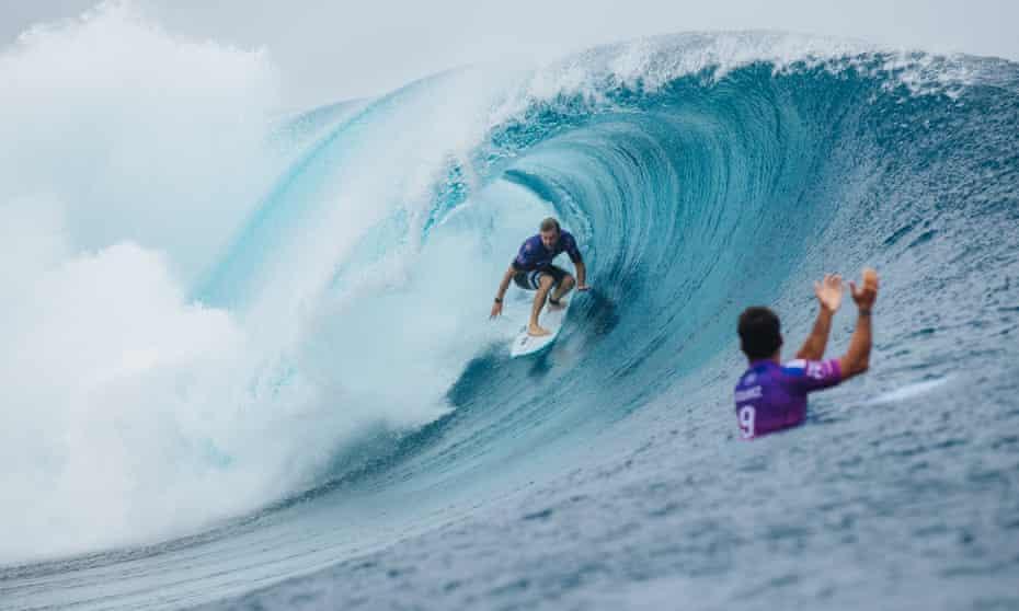 Australia's Adrian Buchan gets a barrel ride at the 2019 Tahiti Pro Teahupo'o.