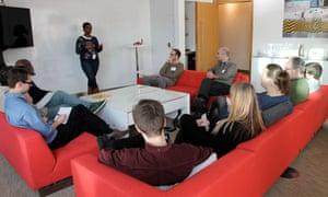 Teachers in the Guardian UX studio