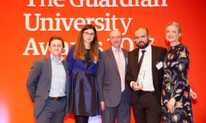 Host Lauren Laverne and Murray Simpson from Net Natives present Research impact (supported by Emerald) award to the University of Sheffield at the Guardian University Awards 2017 held at LSO St Luke's in Old Street, London. 29 March 2017