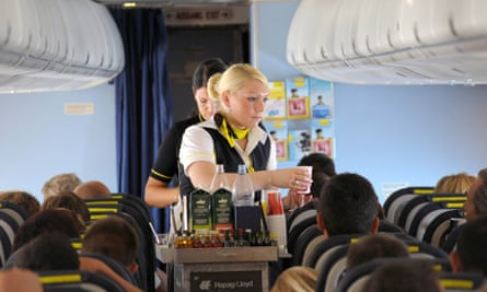 Onboard service on a flight before the coronavirus pandemic.