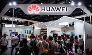A Huawei stand at the Consumer Electronics Expo in Beijing.