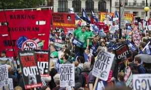 Public sector workers protest against cuts