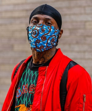 A man wearing an eye-catching face mask in New York