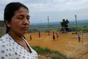 Briceida Rivera, a local coca small farmer and community leader working for women victims' rights, at her community's local football pitch