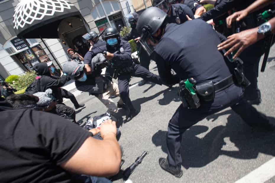 The Los Angeles police department is facing criticism from protesters who say police should have made arrests at the 3 July event.