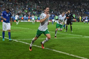 Robbie Brady celebrates after scoring against Italy at Stade Pierre-Mauroy in Lille, France.