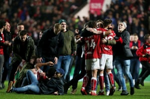 Fans celebrate with Bristol players.