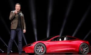 Tesla CEO Elon Musk unveils the Roadster 2 during a presentation in Hawthorne, California, 16 November 2017.