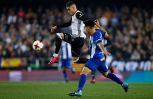 Andreas Pereira controls the ball during Valencia's Copa del Rey quarter-final first leg game against Deportivo Alaves. On Thursday Valencia face Barcelona in the first leg of the Copa del Rey semi-final.