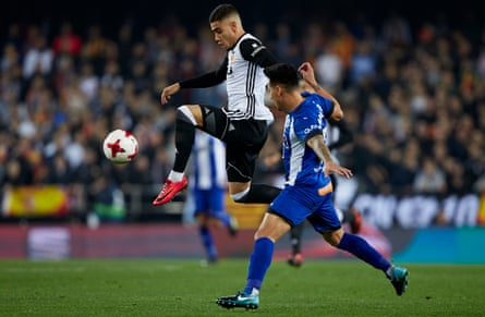 Andreas Pereira controls the ball during Valencia's Copa del Rey quarter-final first leg game against Deportivo Alaves. On Thursday Valencia face Barcelona in the first leg of the Copa del Rey semi-final.