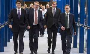 (left to right) Lord Feldman with Lynton Crosby, Jim Messina and Grant Shapps at the Conservative party annual conference in September 2014.